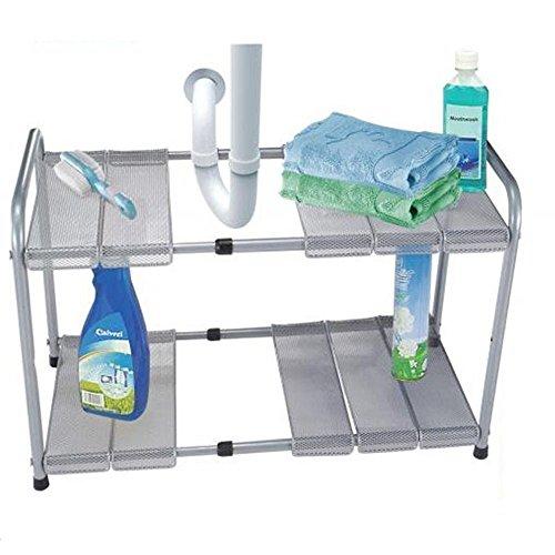 Kitchen Storage Under Sink Organizer: ATB 2 Tier Expandable Adjustable Under Sink Shelf Storage