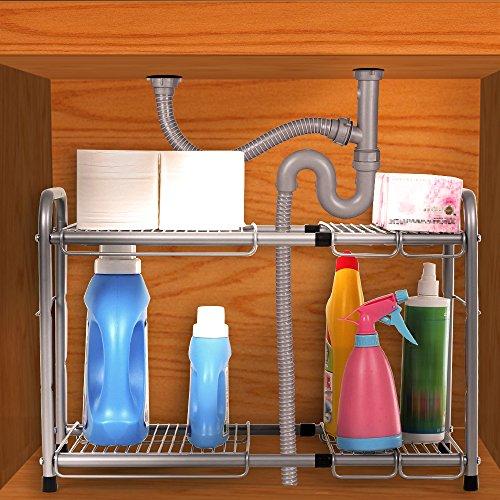 Kitchen Sink Shelf Organizer: SONGMICS 2-Tier Expandable Under Sink Storage Shelf