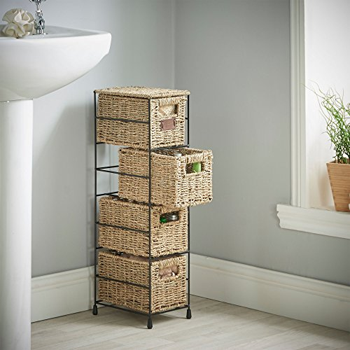 Vonhaus 4 Tier Small Seagrass Basket Storage Tower Unit With Metal Frame Ideal For Small