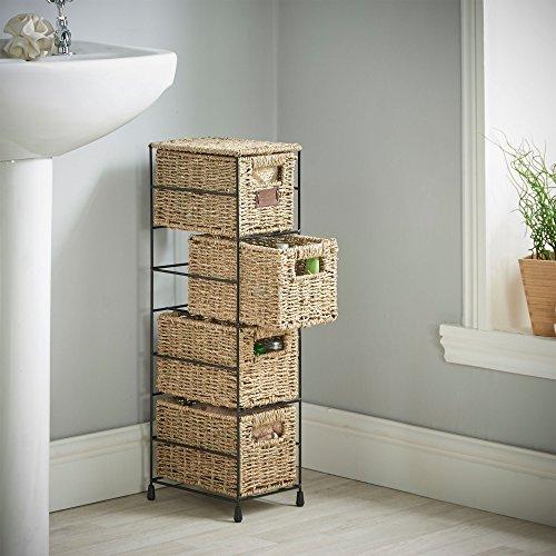 High Quality VonHaus 4 Tier Small Seagrass Basket Storage Tower ...