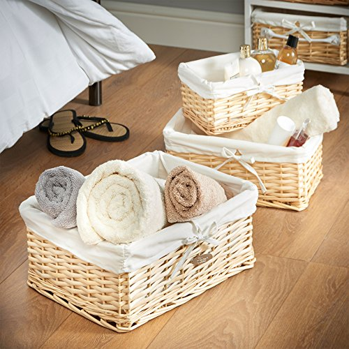 Willow Wicker Storage Basket With Liner For Home: VonHaus Set Of 3 Natural Willow Wicker Rattan Baskets With