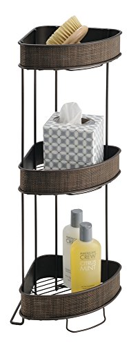 Mdesign Free Standing Bathroom Storage Corner Shelves For Towels Soap Candles Tissues Lotion